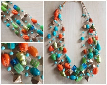 Multi strand Blue, orange, green and gold Glass Necklace - glass beaded necklace - 5 strand necklace - glass bead necklace