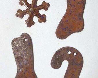 Rusted Tin Embellishments- Christmas - by Homespun Samplar 4 Per Package