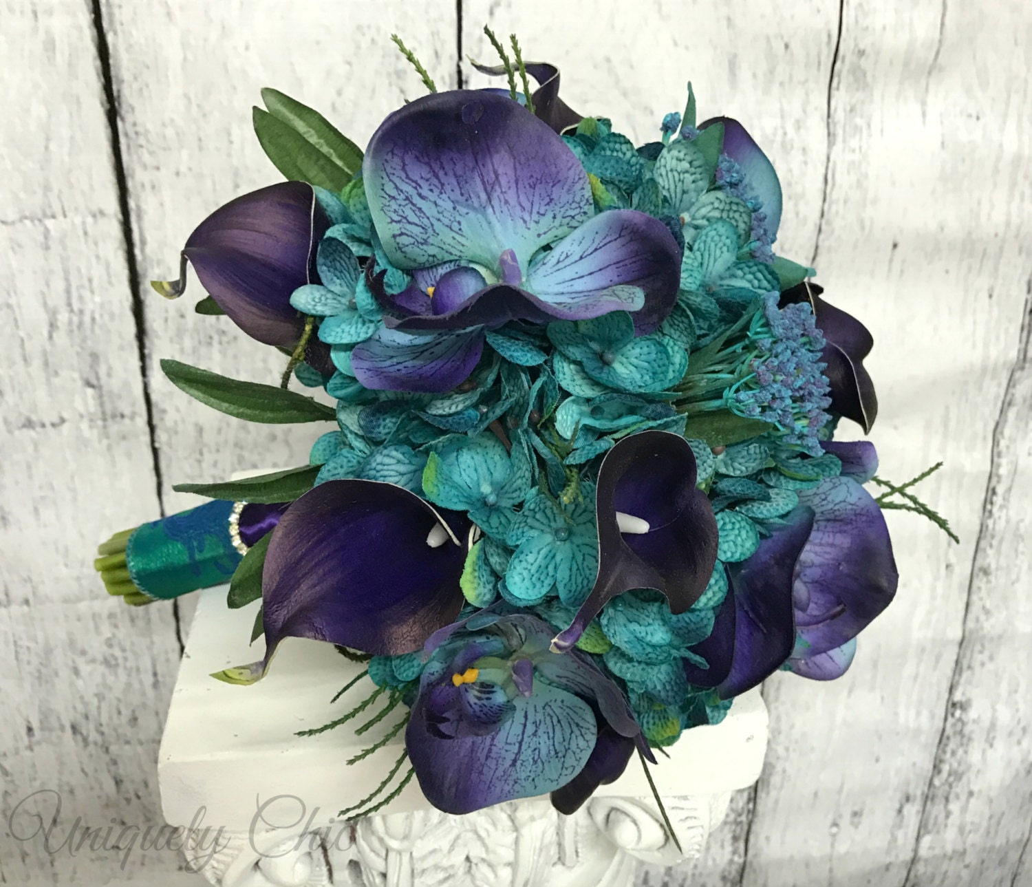 Teal And Purple Wedding Flowers: Teal Wedding Bouquet Purple Calla Orchid Bouquet Turquoise
