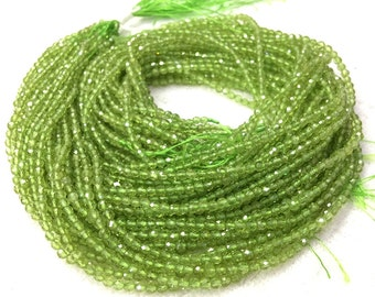 Peridot Faceted Beads 2 mm 3mm Natural Light Green Gemstone Faceted Beads Olive Green Tiny Beads Small Peridot Beads Tiny Spacer Beads