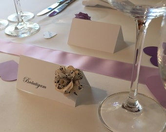 6 personalized place cards with paper roses/wedding/name card/decoration/paper type/guestbooks/rose/handmade /