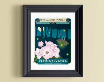 Pennsylvania art | Pennsylvania print | Pennsylvania gifts | Pennsylvania wall art | Pennsylvania poster | Botanical art | Botanical print
