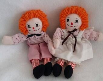 Raggedy Ann and Andy Dolls 11 inch
