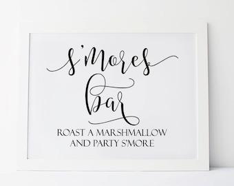 Smores Bar, Wedding Smores Bar Sign, Roast A Marshmallow and Party Smore, Smores Sign, Smores Station Sign, Smores Sign, Reception Signs