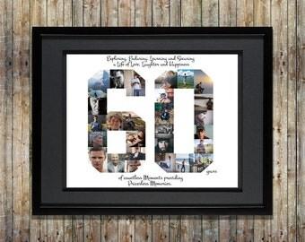 60th Birthday / Anniversary Photo Collage - 60th Birthday Gift - 60th Anniversary Gift - 60th Birthday Gift for Mom - Custom Photo Collage