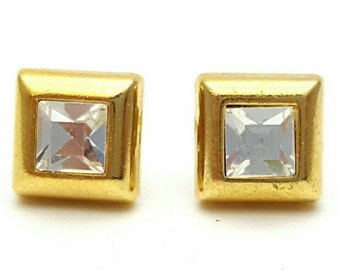 Tiny Square Gold tone Metal and Rhinestone Stud Earrings Vintage from the 90s Bohemian Miniature Mini