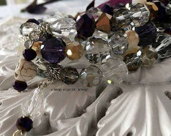 Bracelet Set with Crystals Elegant Evening Purple Clear Smoky Grey Faceted Chinese Crystals Skull Charm Jewelry Jewellery Accessories