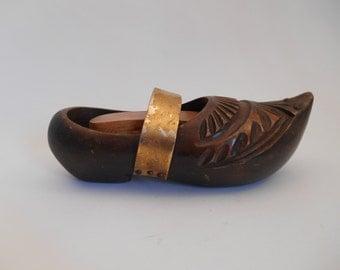 Vintage French Clog Shoe Brush Holder