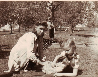 Vintage Photo - Mother and Daugther with Rabbit - Rabbit - Country Life - Bronowice Małe - Vintage Snapshot - Polish Photo - 1940s Photo