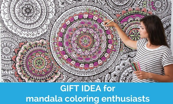 Large Wall Art Print to Color GIANT Mandala Coloring Mural