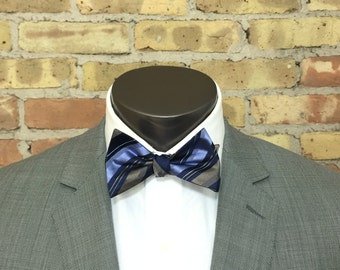 Blue Striped Silk Bow Tie