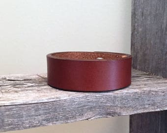 Skinny Brown Leather Cuff Bracelet for Men and Women