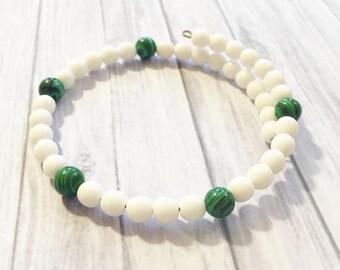 White & green Bead Bracelet, Beaded Bracelet , Memory Wire Bracelet, Bohemian Bracelet, Wrap Bracelet