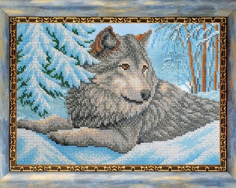 "Bead Embroidery Kit DIY Wolf The Leader Of The Pack 7.4""x10.6"" Color Canvas Bead Set Needle Guide Beginners"