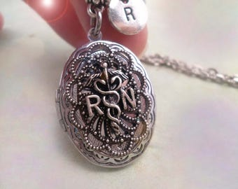 RN Locket, RN Necklace w-Letter Charm of Your Choice, RN Gift, Nurse Gift, Nurses Rock, Registered Nurse, Thank a Nurse, Nurse Necklace