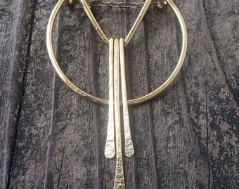 Geometric Necklace Minimalist Necklace Hammered Brass Necklace Art Deco Necklace Fringe Necklace Bohemian Necklace Boho Necklace