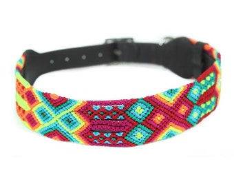 Sunset Red Dog Collar - Red/Yellow/Green