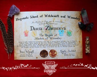 Personalized Hogwarts Master of Wizardry Diploma, Harry Potter Hogwarts Diploma, Hogwarts School of Witchcraft and Wizardry