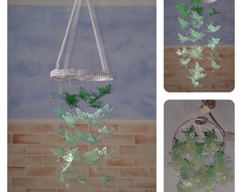 Tri-Green Butterfly Chandelier Mobile - baby/child/nursery/bedroom/baby shower/christening