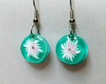 Drop earrings with Tropical floral motif