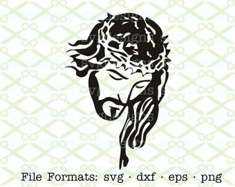 Jesus SVG, Dxf, Eps & Png. Digital Cut Files for Cricut, Silhouette; Religious Svg Files, Christ Svg Design, Stylized Jesus Svg, Easter Svg