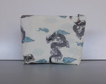 Cosmetic Bag / Japanese  Dragon / Dragon / Makeup Bag / Zippered Pouch / Purse /  Japanese Print / Makeup Case / Pouch / Bag