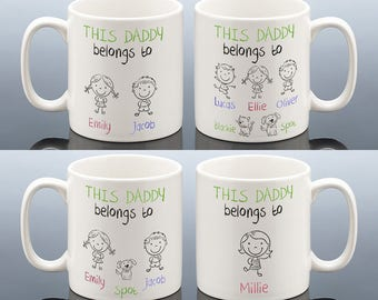 THIS DADDY BELONGS To Mug Personalised  Birthday Gift Birthday Cup for Best Dad Daddy Papa for him men Birthday Present Coffee Mug & Coaster