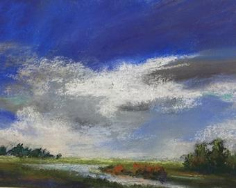 "Original Impressionist Pastel Painting of Cloud Study over Marsh, 5"" x 7"""