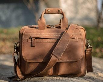 Brown Leather Messenger bag/ Leather Shoulder Bag/ Leather Briefcase / Leather School Bag/ Leather Mens Bag/ Personalized Bag