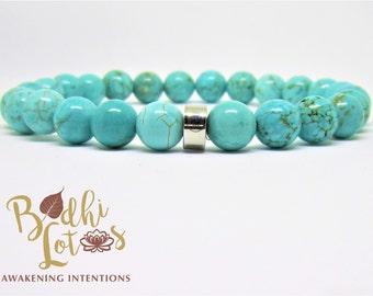 Genuine Turquoise Bracelet Blue Bracelet Turquoise Gemstone Yoga Mala Bracelet Turquoise Chakra Bracelet Turquoise Yoga Meditation Bracelet