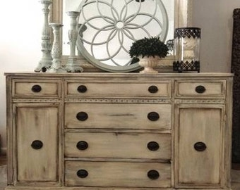 Beachy Coastal Off White Blue Glazed Antiqued Mahogany Painted Buffet Sideboard TV Console Credenza Bathroom Vanity Kitchen Island