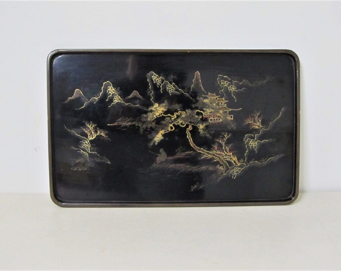 Japanese lacquerware tray, vintage traditional Japanese serving tray with pagodas temples and landscape, antique home decor