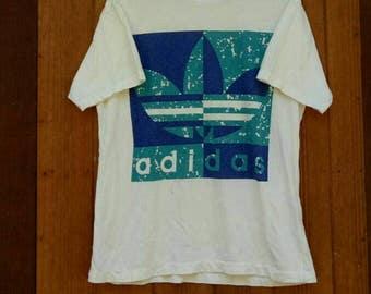 Rare!! ADIDAS T-shirt big logo spell out three stripes nice design hip hop style designer White colour medium size