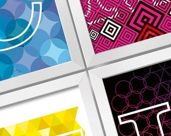 CMYK 4 frames set Digital print Design art