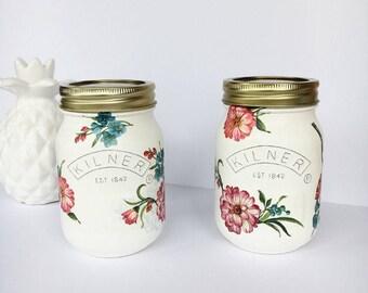 2 Floral Jungle Style 0.5 Litre Kilner Jars - Makeup brush holder