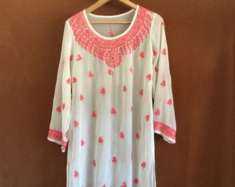 Vintage hippie sheer embroidered top from India