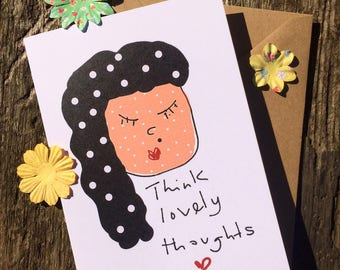 Mindfulness Card - Happy Card - Positivity Card - Polka Dot Card - Lovely Thoughts Card - Afro Card - Encouragement Card - A6 Greeting Card