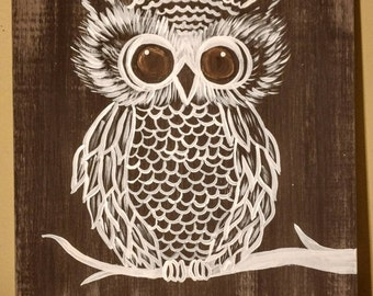 Whimsical Owl Painting on Wood