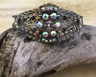 Filigree cuff bracelet with crystals, bronze jewelry, victorian style, gift for her, birthday gift, anniversary gift, gift under 35