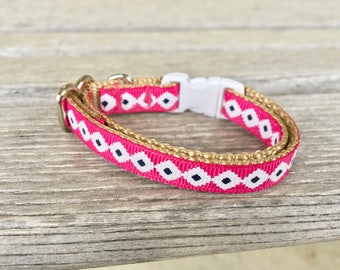 White Diamond Pink Cat Collar, Hot Pink Kitten Collar, White Diamond Cat Collar, Breakaway Buckle Cat Collar, Girl Cat Collar