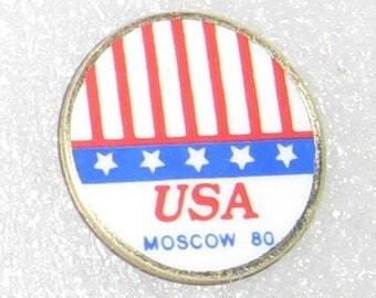 USA Moscow 80 hat pin lapel pin. Vintage collectible. Enamel.