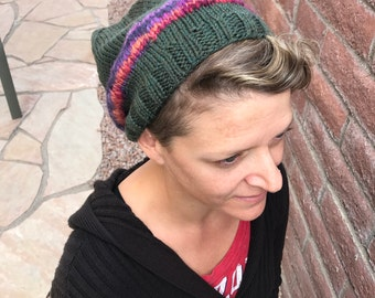 Olive Slouch with Hand-spun Accents