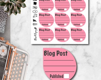 Blog Post Tracker Planner Stickers- Large Tear Drop Series. Functional, Bright, Reminder. Happy Planner, Erin Condren, Recollections