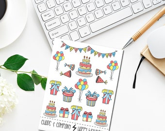 Happy Birthday - Original Hand Drawn Planner Stickers. Colorful, Celebration, Cake, Baloons, Presents. Happy Planner, Erin Condren Etc.