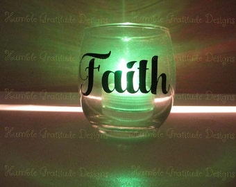 "Color Changing Votive Candle - ""Faith"" - Flameless - Wedding Favors - Gifts"