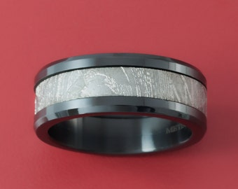 Authenticated 8MM Beveled Edge Meteorite Ring Inlaid In Black Zirconium (Coated with Rhodium Plating)