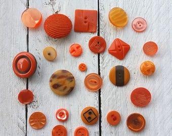Vintage orange button collection