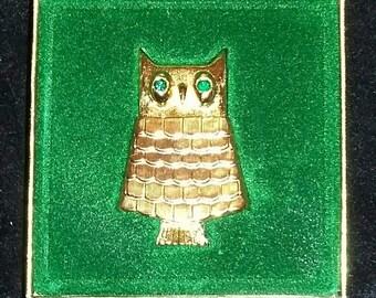 Vintage Avon. Avon Jeweled Owl Perfume Glace Pin.