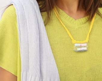 Phrase - Urban Chic Necklace yellow knitted necklace gift