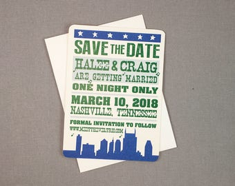 Nashville Concert Poster Save the Date Notecard with A2 Envelope // Save the Date One night Only // Hatch Show Print Inspired